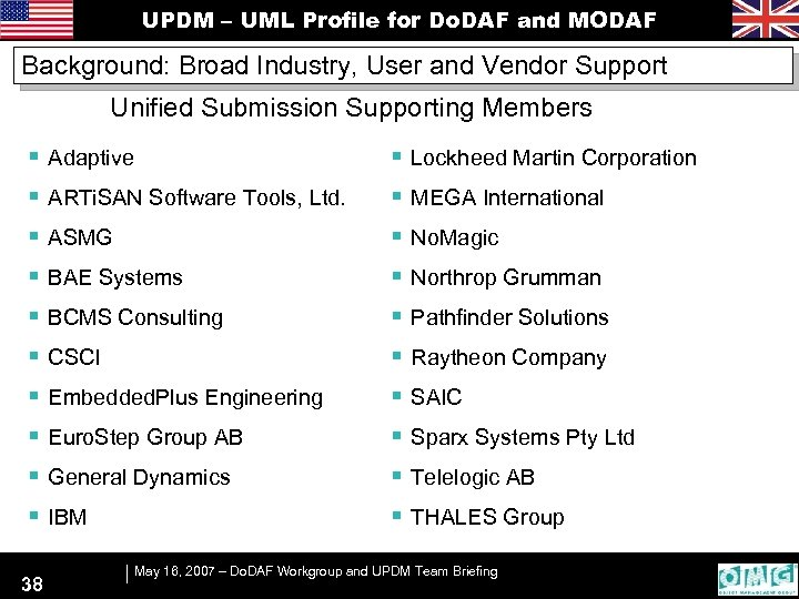 UPDM – UML Profile for Do. DAF and MODAF Background: Broad Industry, User and
