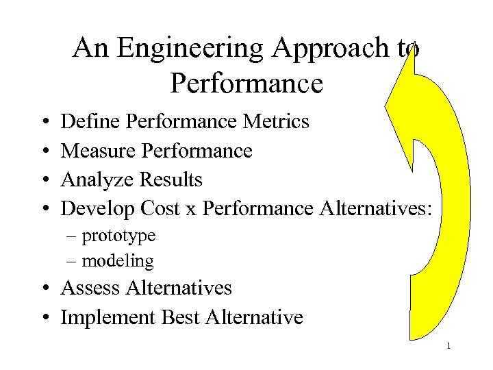 An Engineering Approach to Performance • • Define Performance Metrics Measure Performance Analyze Results