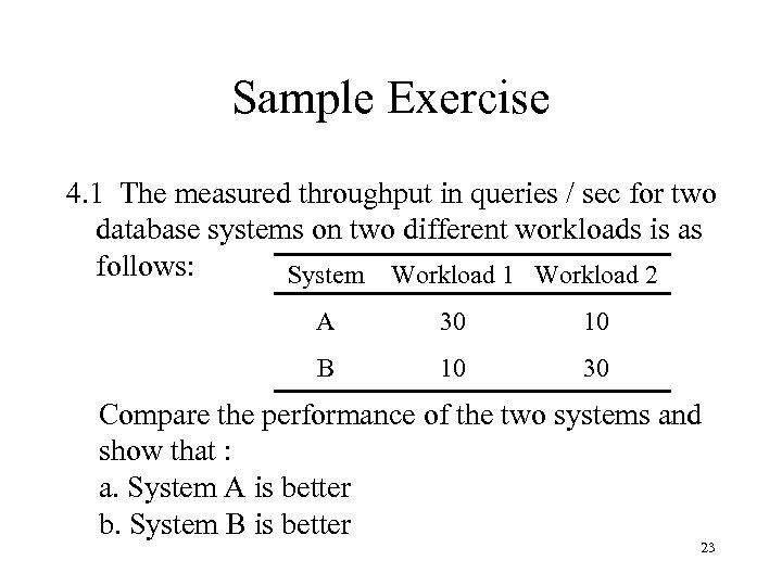 Sample Exercise 4. 1 The measured throughput in queries / sec for two database