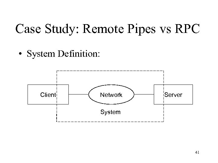Case Study: Remote Pipes vs RPC • System Definition: Client Network Server System 41