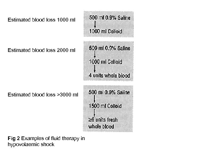 Estimated blood loss 1000 ml Estimated blood loss 2000 ml Estimated blood loss >3000