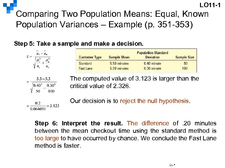 LO 11 -1 Comparing Two Population Means: Equal, Known Population Variances – Example (p.