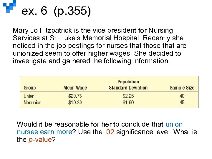 ex. 6 (p. 355) Mary Jo Fitzpatrick is the vice president for Nursing Services