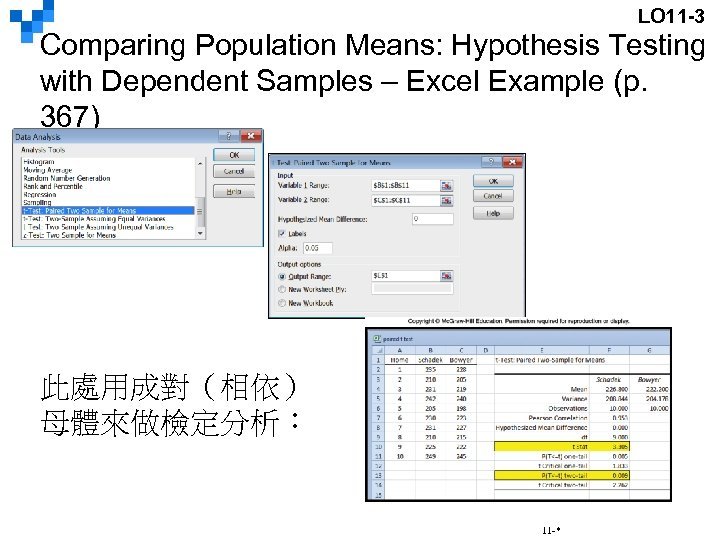 LO 11 -3 Comparing Population Means: Hypothesis Testing with Dependent Samples – Excel Example
