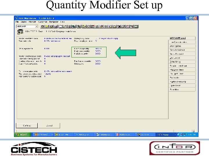 Quantity Modifier Set up