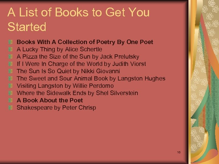 A List of Books to Get You Started Books With A Collection of Poetry