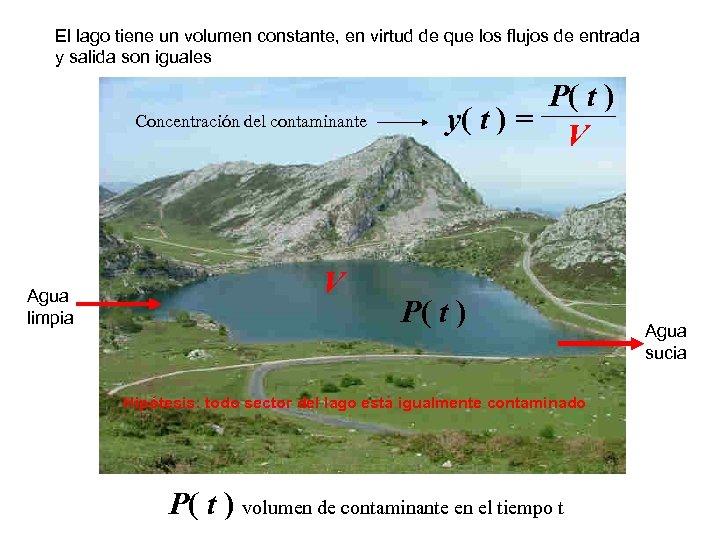 El lago tiene un volumen constante, en virtud de que los flujos de entrada
