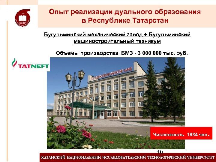 Опыт реализации дуального образования в Республике Татарстан Бугульминский механический завод + Бугульминский машиностроительный техникум