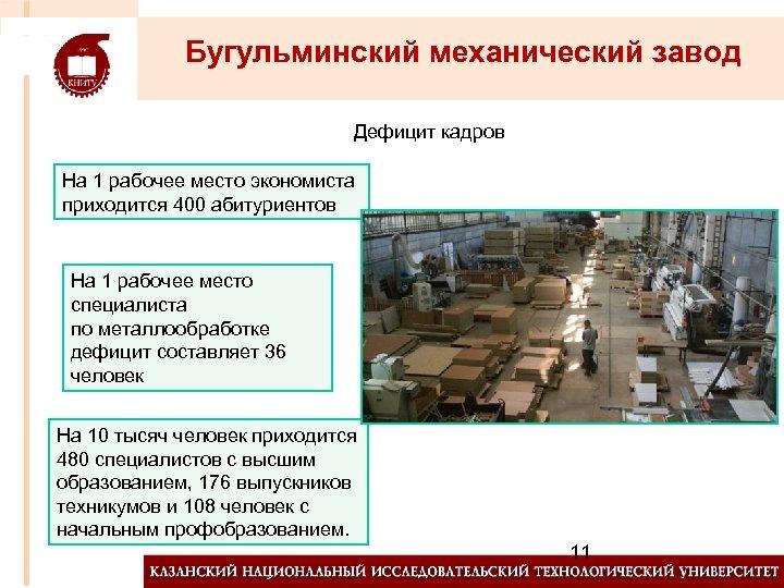 Бугульминский механический завод Дефицит кадров На 1 рабочее место экономиста приходится 400 абитуриентов На