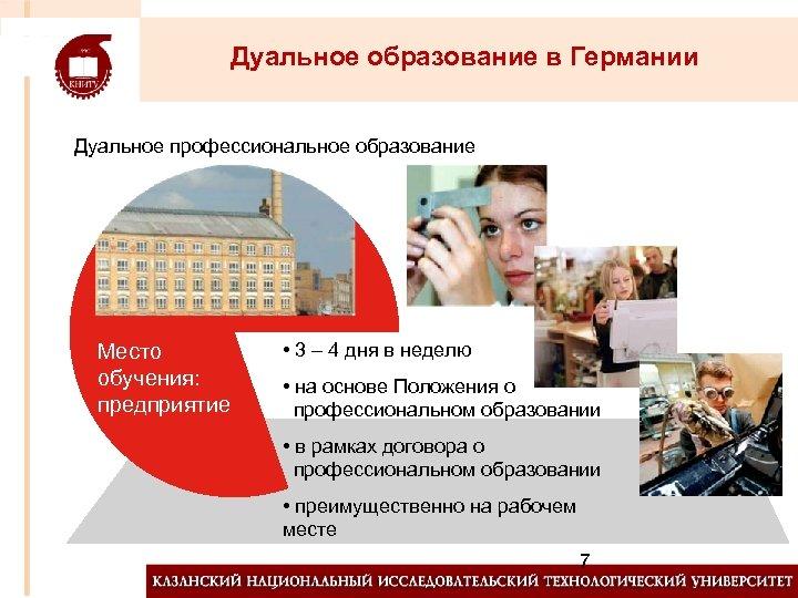 Дуальное образование в Германии Дуальное профессиональное образование Место обучения: предприятие • 3 – 4
