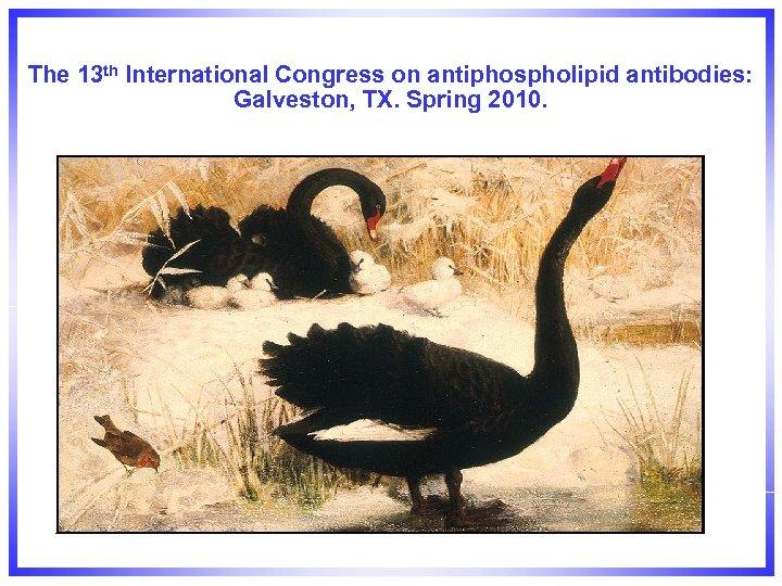 The 13 th International Congress on antiphospholipid antibodies: Galveston, TX. Spring 2010.