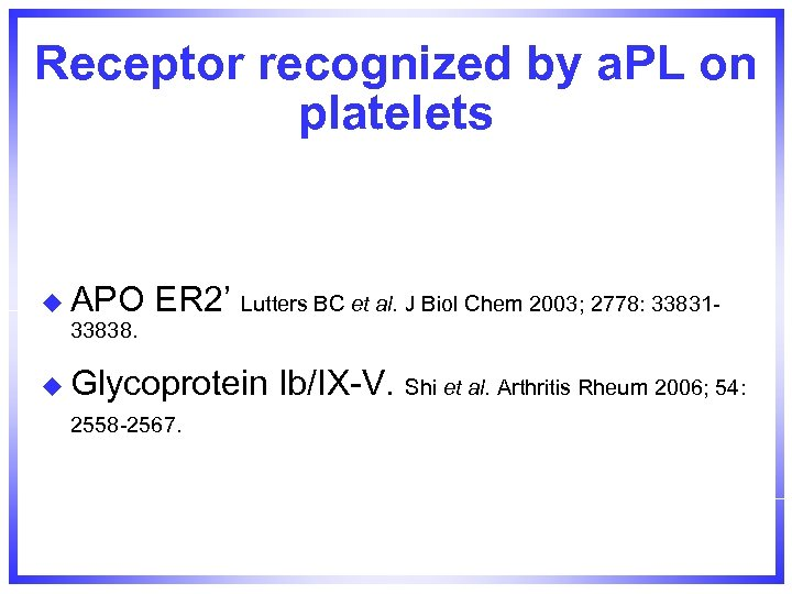 Receptor recognized by a. PL on platelets u APO 33838. ER 2' Lutters BC