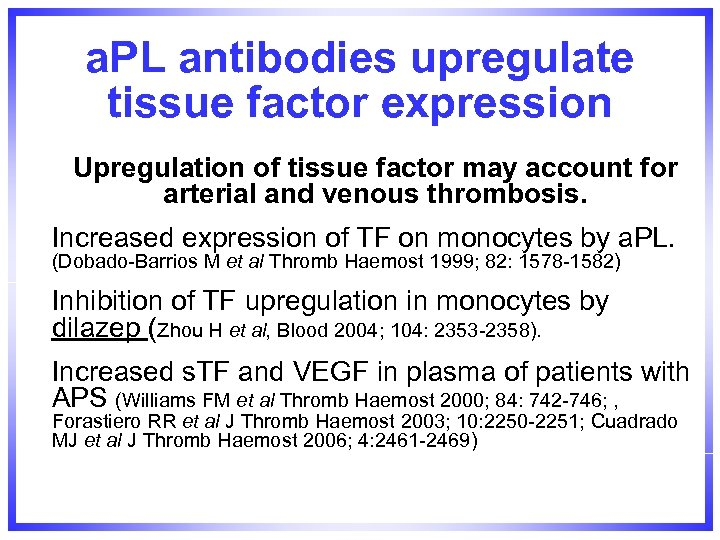 a. PL antibodies upregulate tissue factor expression Upregulation of tissue factor may account for