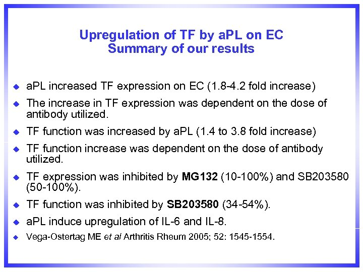 Upregulation of TF by a. PL on EC Summary of our results u a.