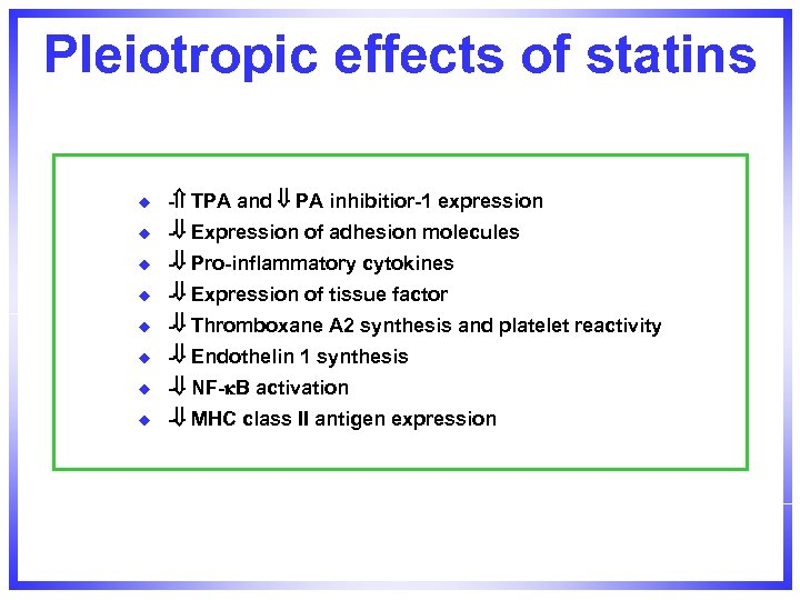 Pleiotropic effects of statins u - TPA and PA inhibitior-1 expression u - Expression