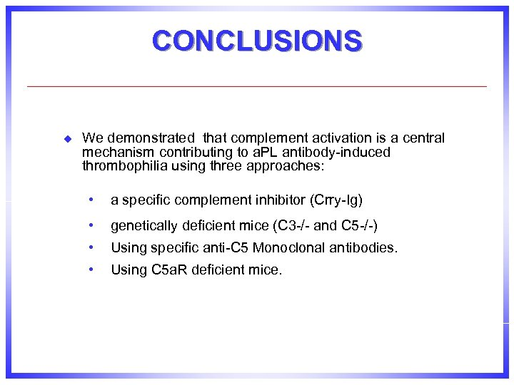 CONCLUSIONS u We demonstrated that complement activation is a central mechanism contributing to a.