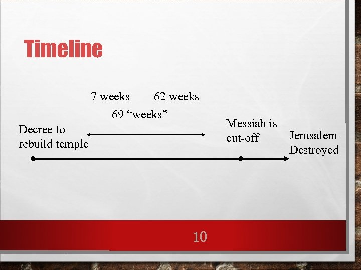 "Timeline 7 weeks 62 weeks 69 ""weeks"" Decree to rebuild temple 10 Messiah is"