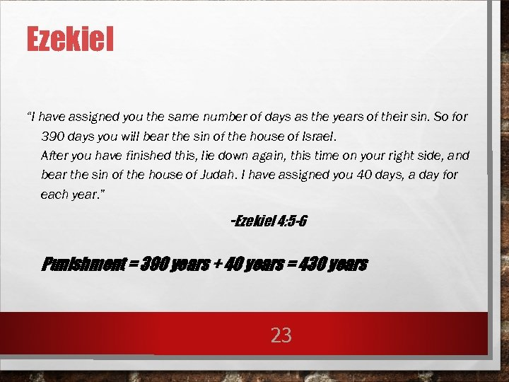 """Ezekiel """"I have assigned you the same number of days as the years of"""