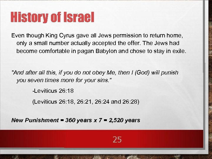 History of Israel Even though King Cyrus gave all Jews permission to return home,