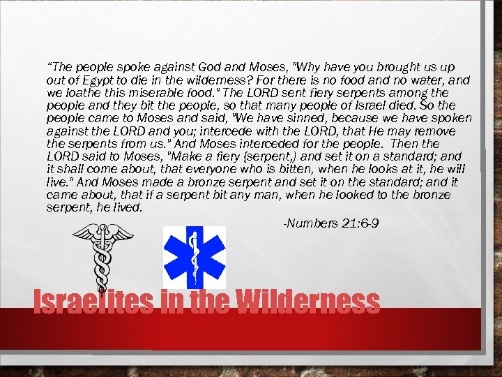 """The people spoke against God and Moses,"