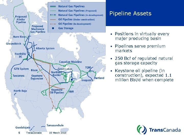 Pipeline Assets • • 19 March 2018 250 Bcf of regulated natural gas storage