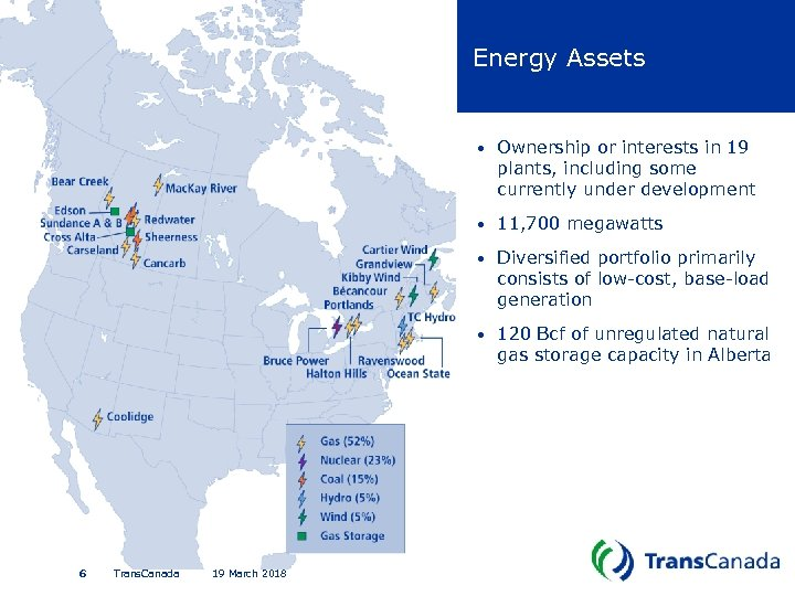 Energy Assets • • 19 March 2018 Diversified portfolio primarily consists of low-cost, base-load