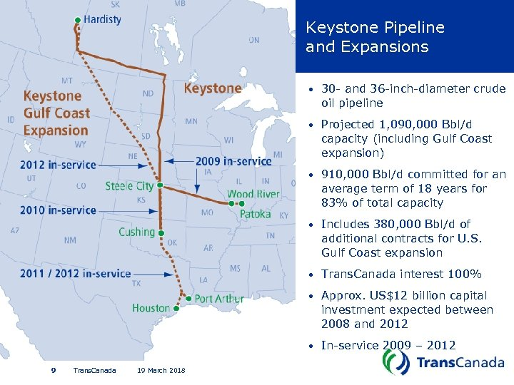 Keystone Pipeline and Expansions • • Includes 380, 000 Bbl/d of additional contracts for