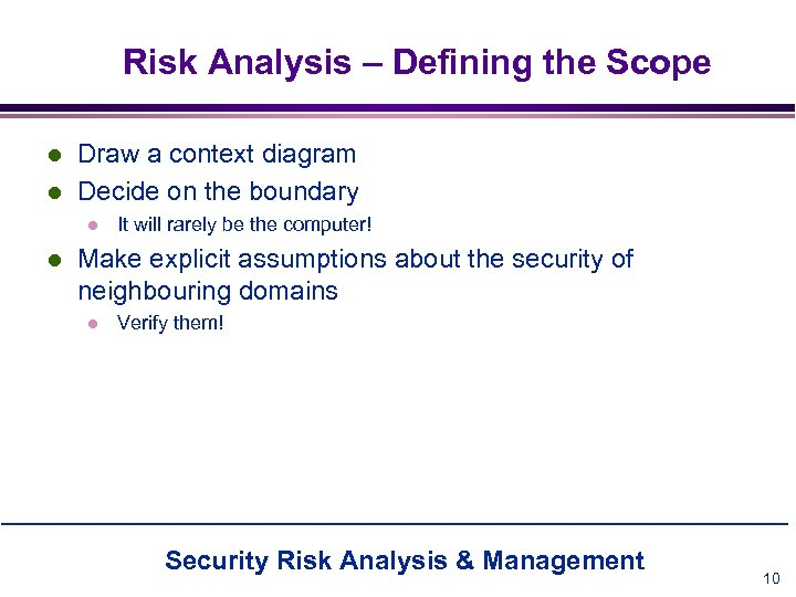 Risk Analysis – Defining the Scope l l Draw a context diagram Decide on