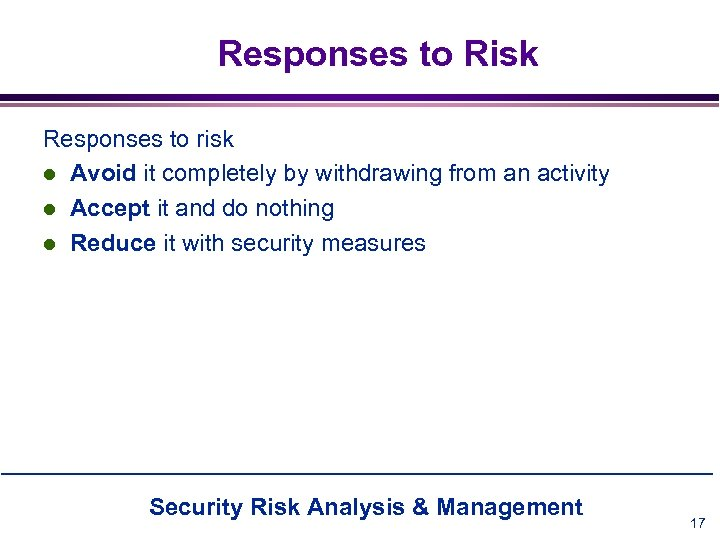 Responses to Risk Responses to risk l Avoid it completely by withdrawing from an