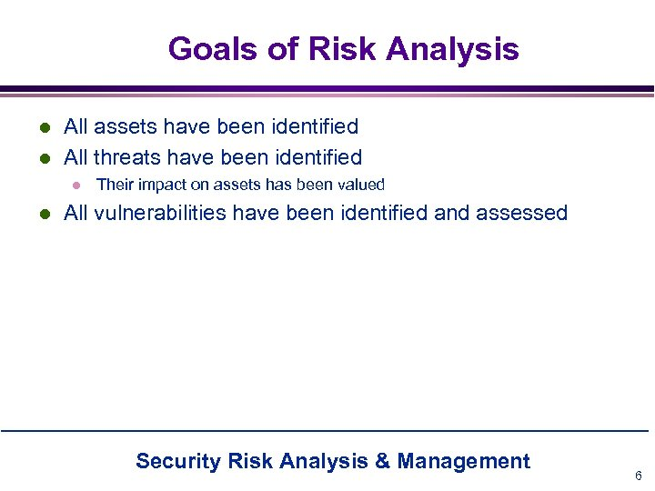 Goals of Risk Analysis l l All assets have been identified All threats have