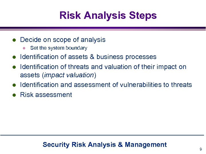 Risk Analysis Steps l Decide on scope of analysis l l l Set the