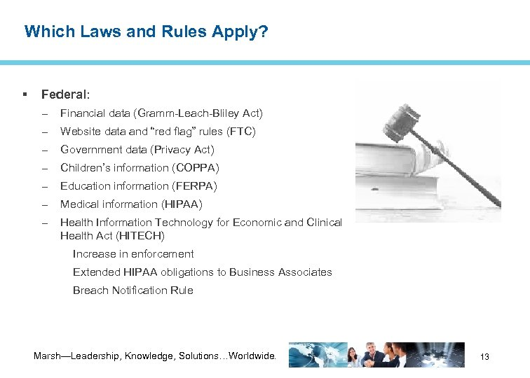 Which Laws and Rules Apply? Federal: – Financial data (Gramm-Leach-Bliley Act) – Website data
