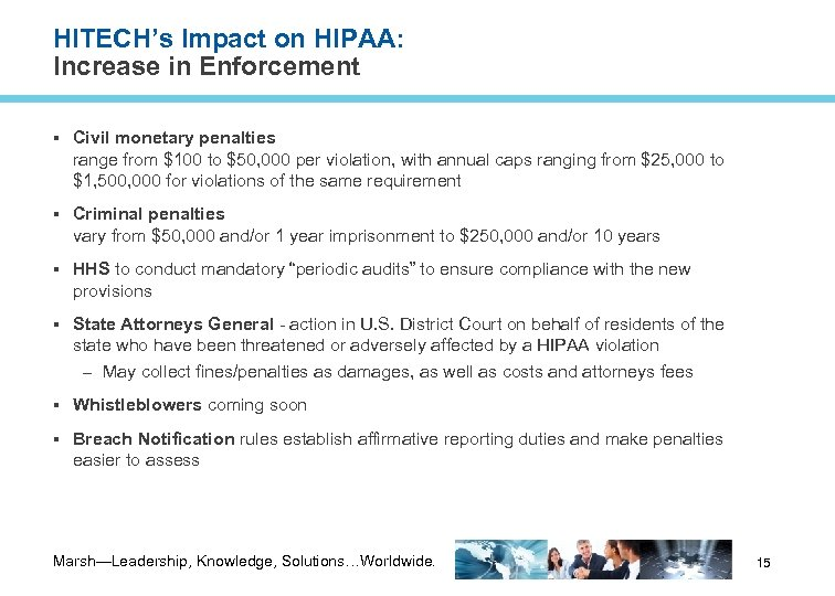 HITECH's Impact on HIPAA: Increase in Enforcement Civil monetary penalties range from $100 to