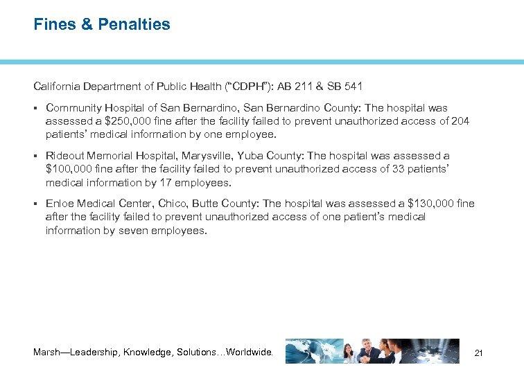 "Fines & Penalties California Department of Public Health (""CDPH""): AB 211 & SB 541"