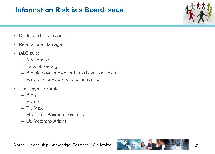 Information Risk is a Board Issue Costs can be substantial Reputational damage D&O suits: