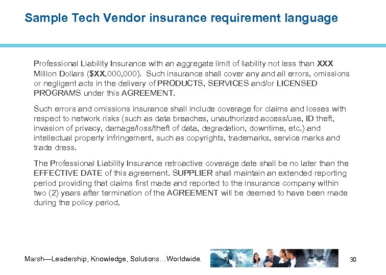 Sample Tech Vendor insurance requirement language Professional Liability Insurance with an aggregate limit of