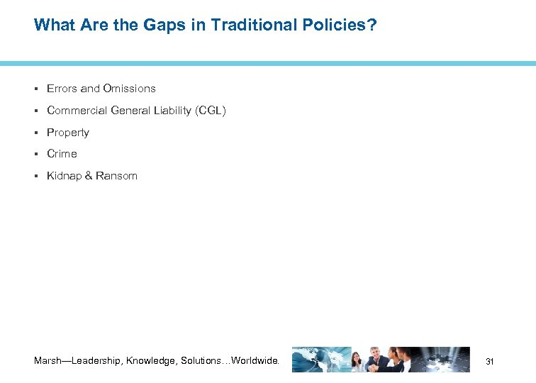 What Are the Gaps in Traditional Policies? Errors and Omissions Commercial General Liability (CGL)