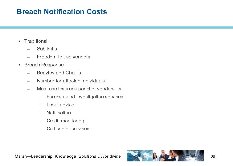 Breach Notification Costs Traditional – Sublimits – Freedom to use vendors. Breach Response –