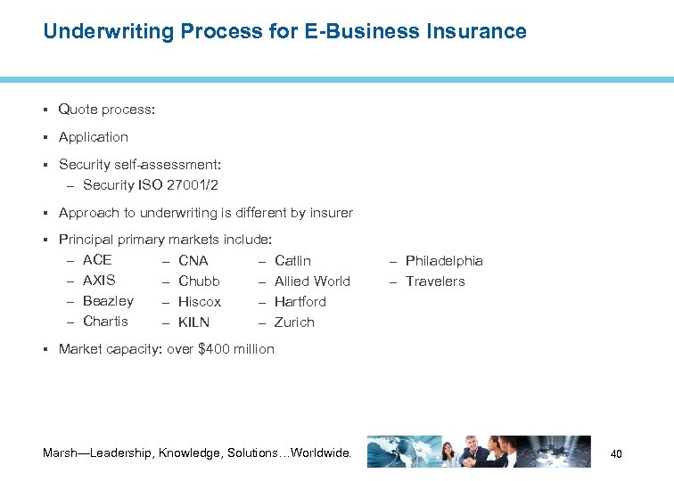 Underwriting Process for E-Business Insurance Quote process: Application Security self-assessment: – Security ISO 27001/2