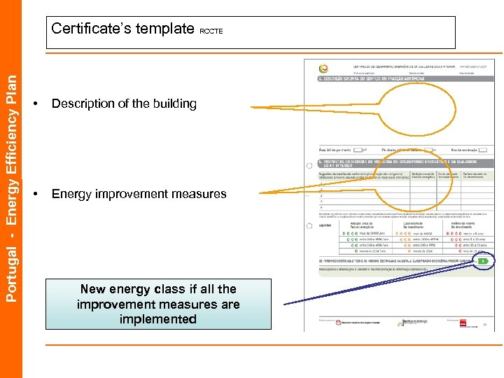 Portugal - Energy Efficiency Plan Certificate's template RCCTE • Description of the building •