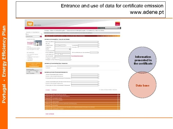 Entrance and use of data for certificate emission Portugal - Energy Efficiency Plan www.