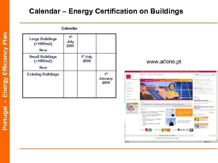 Calendar – Energy Certification on Buildings Portugal - Energy Efficiency Plan Calendar Large Buildings