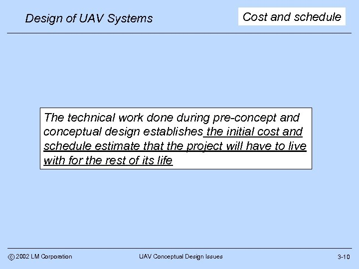 Design of UAV Systems Cost and schedule The technical work done during pre-concept and