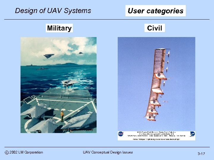 Design of UAV Systems User categories Civil Military Lockheed Martin Aeronautics Company c 2002