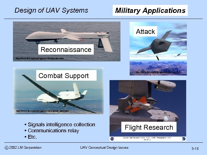 Design of UAV Systems Military Applications Attack Predator (Tier II) Reconnaissance http: //www. fas.