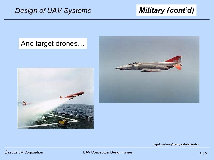 Design of UAV Systems Military (cont'd) And target drones… http: //www. fas. org/irp/program/collect/uav. htm
