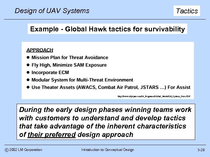 Design of UAV Systems Tactics Example - Global Hawk tactics for survivability http: //www.