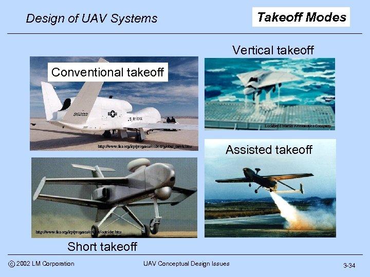 Takeoff Modes Design of UAV Systems Vertical takeoff Conventional takeoff Lockheed Martin Aeronautics Company