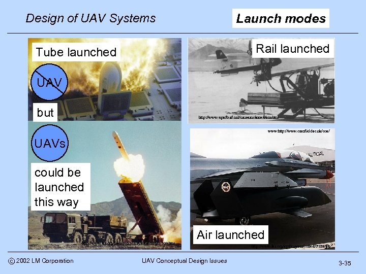 Design of UAV Systems Launch modes Rail launched Tube launched UAV but http: //www.