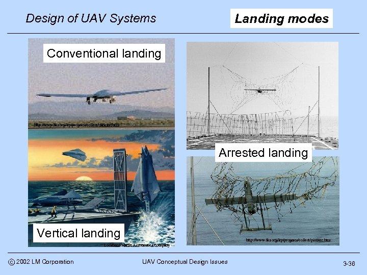 Design of UAV Systems Landing modes Conventional landing http: //www. fas. org/irp/program/collect/darkstar. htm Arrested